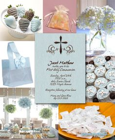Blue and Brown First Communion Party Invitations and Ideas | Announcingit.com