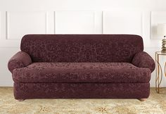 Sure Fit Slipcovers Stretch Jacquard Damask Separate Seat T-Cushion Slipcovers - Sofa T-cushion