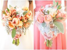 Mendocino Wedding, Bridal Bouquet, coral (and shades of it), charcoal grey, sage green, Maid of Honor Bouquet,
