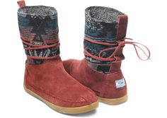 Burgundy Suede Jacquard Women's Nepal Boots | These beauties have got us seeing red - in a good way!