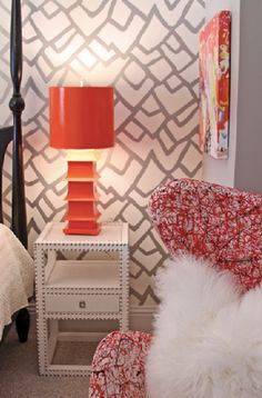 Pagoda Lamp by Worlds Away and beautiful Marco side table by Bungalow5 make for a bright modern teen girl bedroom #bungalow5 #worldsaway #shopcandelabra