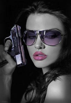 ღ, hot girl with gun and glasses
