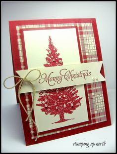 handmade Christmas card fromstamping up north: Festive Friday Challenge ... red, vanilla and kraft ... tree stamped in red with pearls and jewels ... luv the plaid paper with all the colors ... fishtail banner with twine bow ... delightful! ... Stampin' Up!