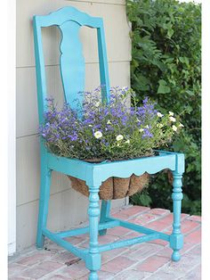 give an old chair a second life as an ingenious planter diy planter, garden chairs, craft, antique chairs, dining chairs, chair planter, planters, old chairs, front porches