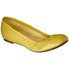 Women's Merona® Genuine Leather Scrunch Flat - Yellow - I NEED yellow flats for spring.