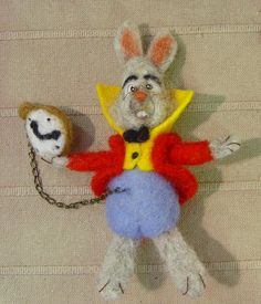 felted rabbit from Alice in the wonderland