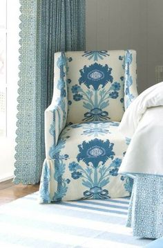Mrs Howard blue, upholstered chairs, white bedrooms, scallop curtain