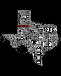 Texas Typography Map Texas Tech University by genevievestjames #TTAA #SupportTradition