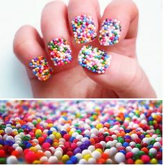Put nailpolish on, cover with sprinkles and then let it dry. After its dried, put a clear coat on top and u have sprinkle nails! ;) must try! <3