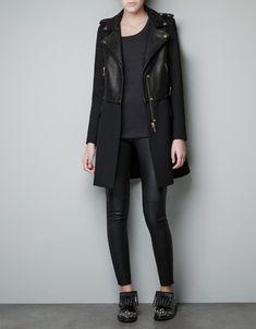 COMBINED LEATHER JACKET - Coats - Woman - ZARA