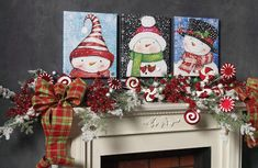 Mantel decorating idea using RAZ Battery powered prints of whimsical snowmen from the 2013 Holiday on Ice Collection ...see the Blog post for more ideas using products from this whimsical collection from RAZ http://www.trendytree.com/blog/raz-2013-holiday-on-ice-decorating-ideas-and-inspiration/