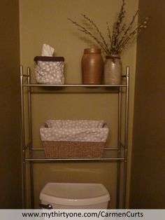 """Half bath, but all Thirty-One! """"Littles Carry-All"""" in Lotsa Dots to hide ugly tissue boxes, """"Medium Basket"""" with Lotsa Dots liner for extra toilet paper or reading material. http://www.mythirtyone.com/CarmenCurts/"""