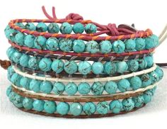 Mix and Match Turquoise Single Stacking Bracelets in Natural Pink, Natural Grey, Opal White and Saddle Brown