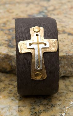 Brown Leather with Silver & Gold Sideways Cross Cuff Bracelet