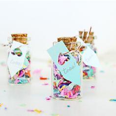 DIY mini confetti jar favors for parties or weddings