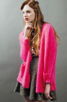 #neon pink cardigan. fall, autumn, winter