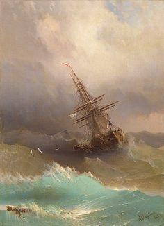 Aivazovsky Ivan Konstantinovich  A Ship in the Stormy Sea   1887