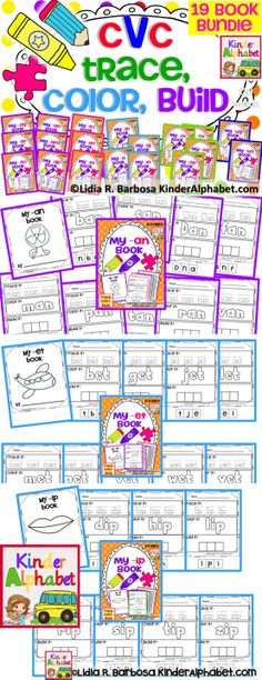 Find a FREE printable in the preview of this BUNDLE  of 19 CVC books. Students practice decoding and spelling patterns with these Trace, Color, and Build activities. Includes 19 word families :)