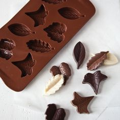 GREAT idea for fall... chocolate leaf mold!  Perfect for a simple candy dish, and I love using the different kinds of chocolate--adds so much depth!
