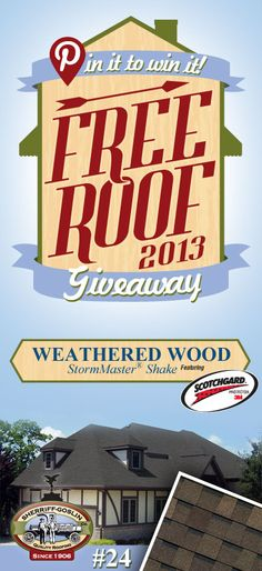 Re-pin this gorgeous StormMaster Shake Weathered Shingle for your chance to win in the Sherriff-Goslin Pin It To Win It FREE ROOF Giveaway. Available in Sherriff-Goslin service area only. Re-pin weekly for more chances to win! | Stay Updated! Click the following link to receive contest updates. http://www.sherriffgoslin.com/repin Learn More about this shingle here: http://www.sherriffgoslin.com/tabbed.php?section_url=142