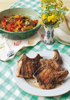 Charred Lemon-Pepper Pork Chops Recipe - Saveur.com - Serve the chops with Pipérade Salad for a laid-back summer supper.