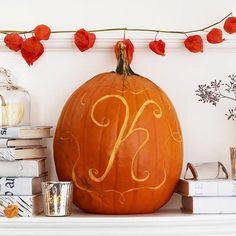 Make a monogram pumpkin! More creative ideas: http://www.bhg.com/halloween/pumpkin-carving/cool-halloween-pumpkins halloween pumpkins, thanksgiv decor, fall decorating, monogram letters, monogram pumpkin, decor idea