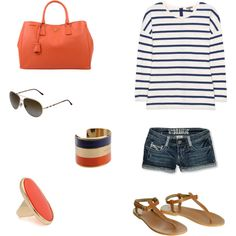 Orange and Blue, created by laurenleonard on Polyvore