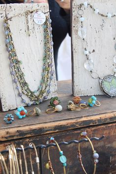 Inexpensive but really cool DIY necklace display. Could do matched sets like this as well.