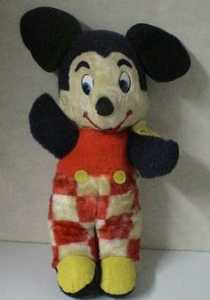Vintage 1950s Disney Mickey Mouse Plush Doll.