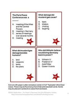 Here is a set of 50 task cards and activities focusing on World War I. The student answer keys are grouped into five problems per key to allow for frequent checks and immediate feedback. Student response sheets are also provided with five questions per sheet. The teacher key has all 50 answers on one page.