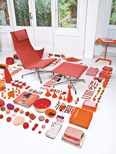 interior, red, product design, Charles Eames via topoftheline99.com