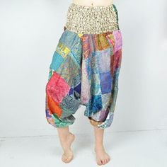 One-Of-A-King Silk Harem Patchwork Pants $16 || Supreme comfort and color make these pretty patchwork harem pants ridiculously popular with chic traveling women all over the world! After seeing stylish women rocking these fabulous harem pants literally everywhere we travel, once the Mexicali ladies tried them on, we understood why! So light and airy, these gorgeous hippie pants are made from a silk/rayon blend that has the look as our recycled silk pieces but is far more durable.