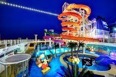 You'll find Norwegian Getaway's Aqua Park at 17 decks above the sea! Complete with 5 multi-story waterslides, 2 swimming pools, 4 hot tubs, and whole lot more--you won't know where to start! #UltimateGetaway