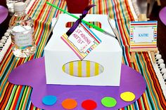 Loving this art themed party idea! art party, art birthday, lunch boxes, art parti, birthday parties, kid art, parti idea, themed parties, boxed lunches