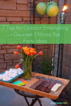 Gourmet S'Mores Bar Outdoor Party + Ideas for #OutdoorEntertaining. Love the recipe ideas the and lighting from TIKI brand! #ad