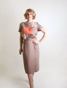 Vintage 1960s Dress - Cocoa Tan Geometric Square Wiggle Dress - with a splash of tangering tango in the middle Dress Newfashion, Cocoa, Dresses, Sheath Dress, Tan Geometr, 1960S Dress, Sheathdress Sheath, Geometr Squar, Wiggl Dress