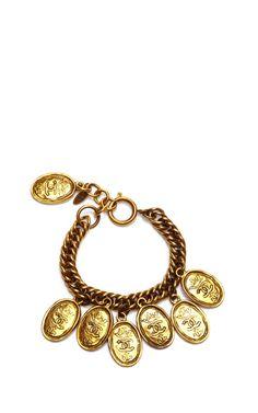 Chanel CC Stamped Oval Charm Bracelet