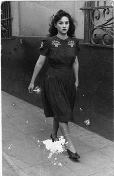 Girl in the street. 1940s.