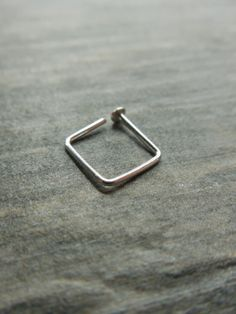One 1 Tiny Sterling Silver Square Nose Ring by Rootiebirds