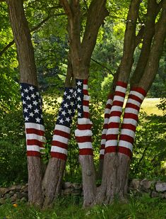 Flag Trees, Newtown, CT...just drove past this...