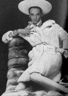 Veruschka in AZURENE EMBA MINK Fur vogue, veruschka, fur glamour, furs, mink fur, helmut newton, emba mink