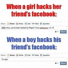 Hacked Facebook of friend #Boy, #Facebook, #Funny, #Girl, #Hack