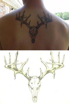 Buck Skull Tattoo by 13Stellar.deviantart.com
