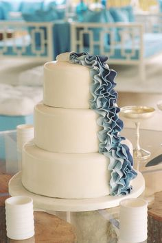Blue Ruffle Cake..I love this for a wedding shower or a baby shower (for a boy of course)