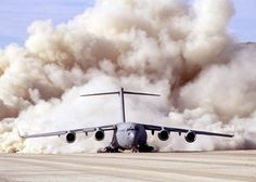 C-17 USAF Globemaster Takes Off On Dirt Runway