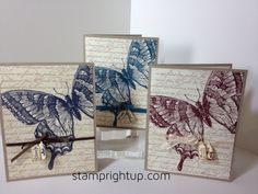 Stampin Up`s Swallowtail card set using jewelry punch & tiny tags as accents to the ribbon.