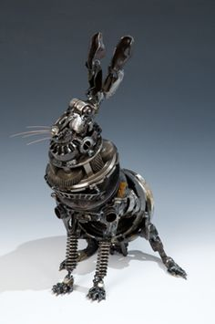 steampunk art, animals, jame corbett, rabbits, steam punk, steampunk rabbit, animal sculptures, car parts, metal art