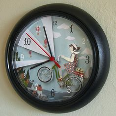 this is just a pic of a cool art project, but as a d.i.y., we could re-do an old clock by creating the image and then adding the numbers onto the pic or with stickers on top of the glass.