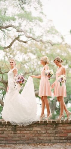 a bride + her bridesmaids