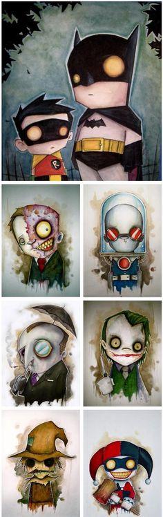 Batman, Robin, and villans